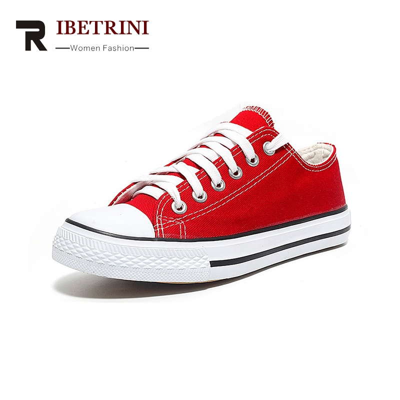 RIBETRINI 2018 Brand Fashion Vulcanized Sneaker Shoes Woman Spring Summer Lace Up Shoes Woman Size 41-45