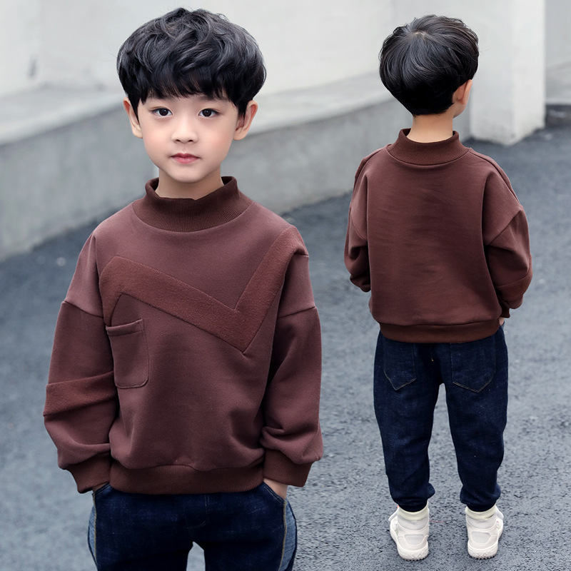Fashion 2018 Autumn Winter Teenage Boys Velours T shirts Kids Long Sleeve Tops Baby Boys Solid Cotton t shirt Children Costumes new boys t shirt spring long sleeve cotton kids t shirts scrawl printed autumn baby toddler boys t shirt tops children clothing