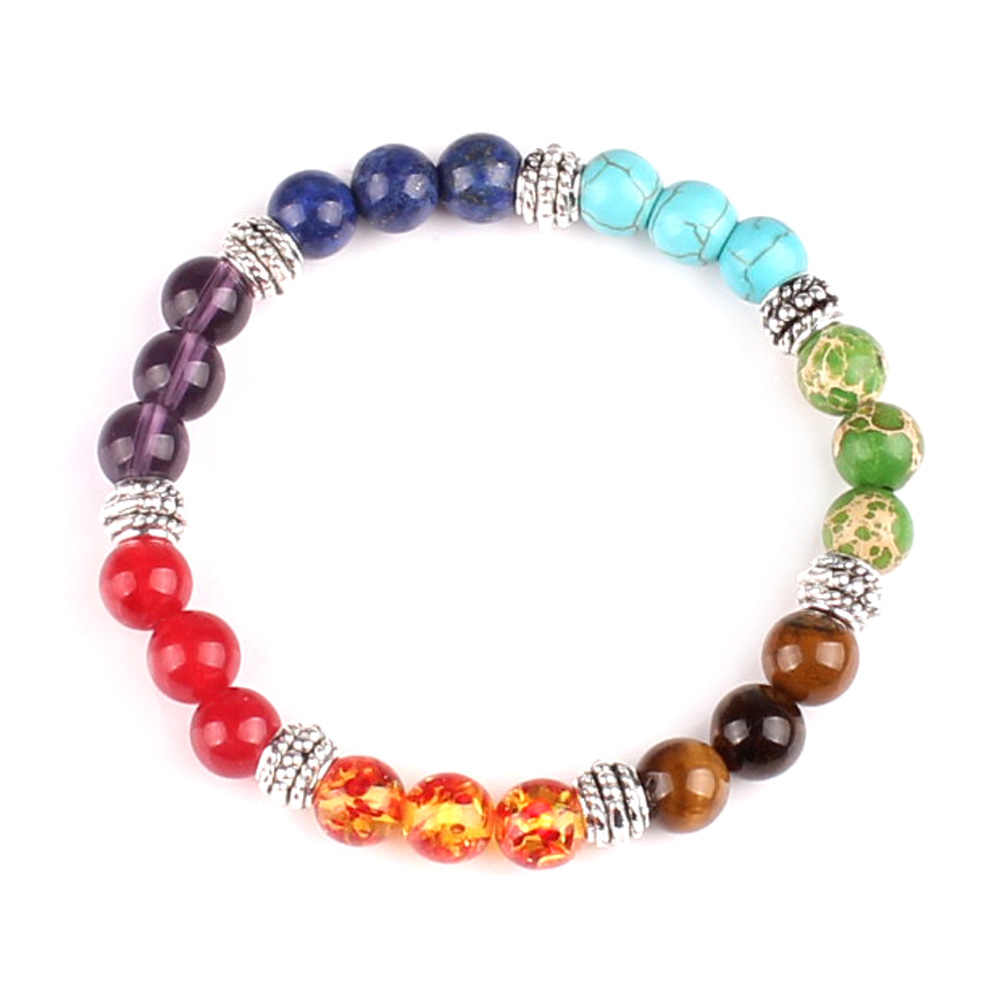 Men Women 7 Chakra Mixed Stone Healing Chakra Pray Mala Bracelet Lava Rock DIY Beads Jewelry Balancing Bracelets