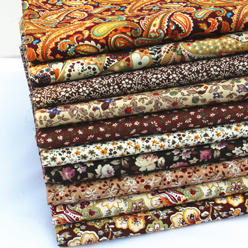 Poplin Cotton Fabric for Patchwork Vintage Brown Flowers Print Cotton Fabrics Set for Quilt Baby Fabric Doll Cloth Tissu 45x50cm