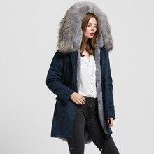 2016 Navy Green Black Long Jacket Women Real Raccoon Large Fur Collar Top Warm Parka Fur