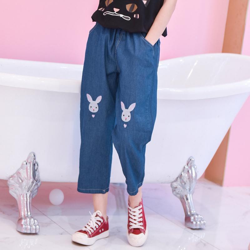 Light Blue Deep Blue Kawaii Bunny Embroidery Jeans Pants Women Summer Casual Straight Pants With Pockets Fashion Ninth Pants2