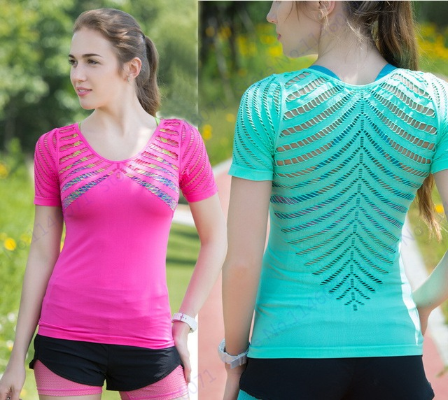 edf322c1c9b87 Sexy Mesh Patchwork Motivational Running Shirt Solid Short Sleeves Sports  Training T-Shirts Quick Dry Fitness Gym Clothes Womens