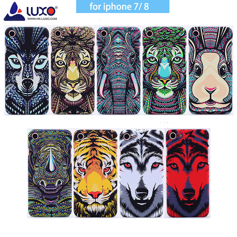 for <font><b>iPhone</b></font> 7 <font><b>iphone</b></font> <font><b>8</b></font> <font><b>Original</b></font> luxo Forest King Aztec Animals Faces Lion Wolf Owl Pattern PC Hard Printing Phone <font><b>Case</b></font> Cover image