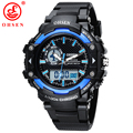 2017 New Arrival OHSEN LED Dual Core Mens Sports Watches Alarm Date Day Stopwatch Black Rubber Band Wristwatch Dive Swim Watches