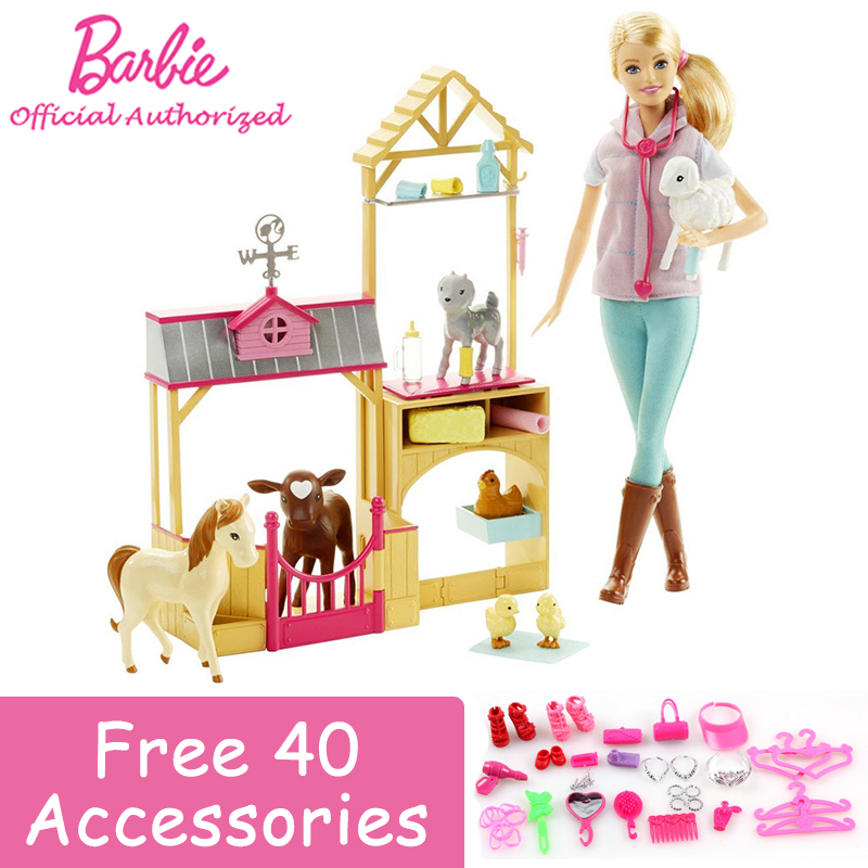 Genuine Barbie Girl Newest Toy Farm Vet Lovely Animal Toy Be a Animal Doctor With 7 Animals DHB71 Brinquedos For New Gift