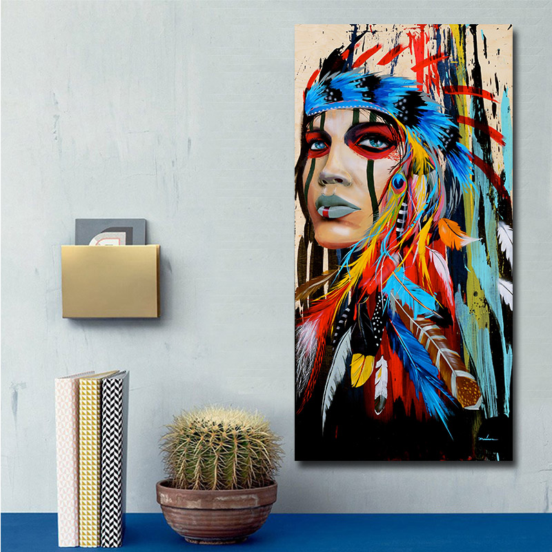 HTB1clmPShjaK1RjSZFAq6zdLFXaX Modern Wall Art Prints Coloful Girl Feathered Women Canvas Painting For Living Room Home Decor free shipping Unframed