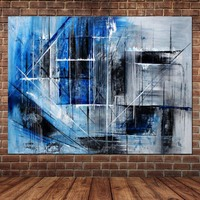 New Arrival Hand Painted Modern Wall Picture Abstract Blue Oil Painting on Canvas Wall Painting For Living Room Home Wall Decor