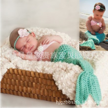 Newborn baby childrens 100 day photography clothing hand woven Pearl Mermaid suit wholesale direct selling