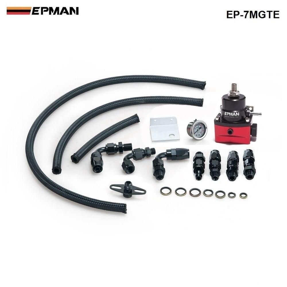 سباق قابل للتعديل منظم ضغط الوقود قياس عدة أسود + أسود تركيبات مع خط النفط لسيارات BMW MINI كوبر R53 EP-7MGTE