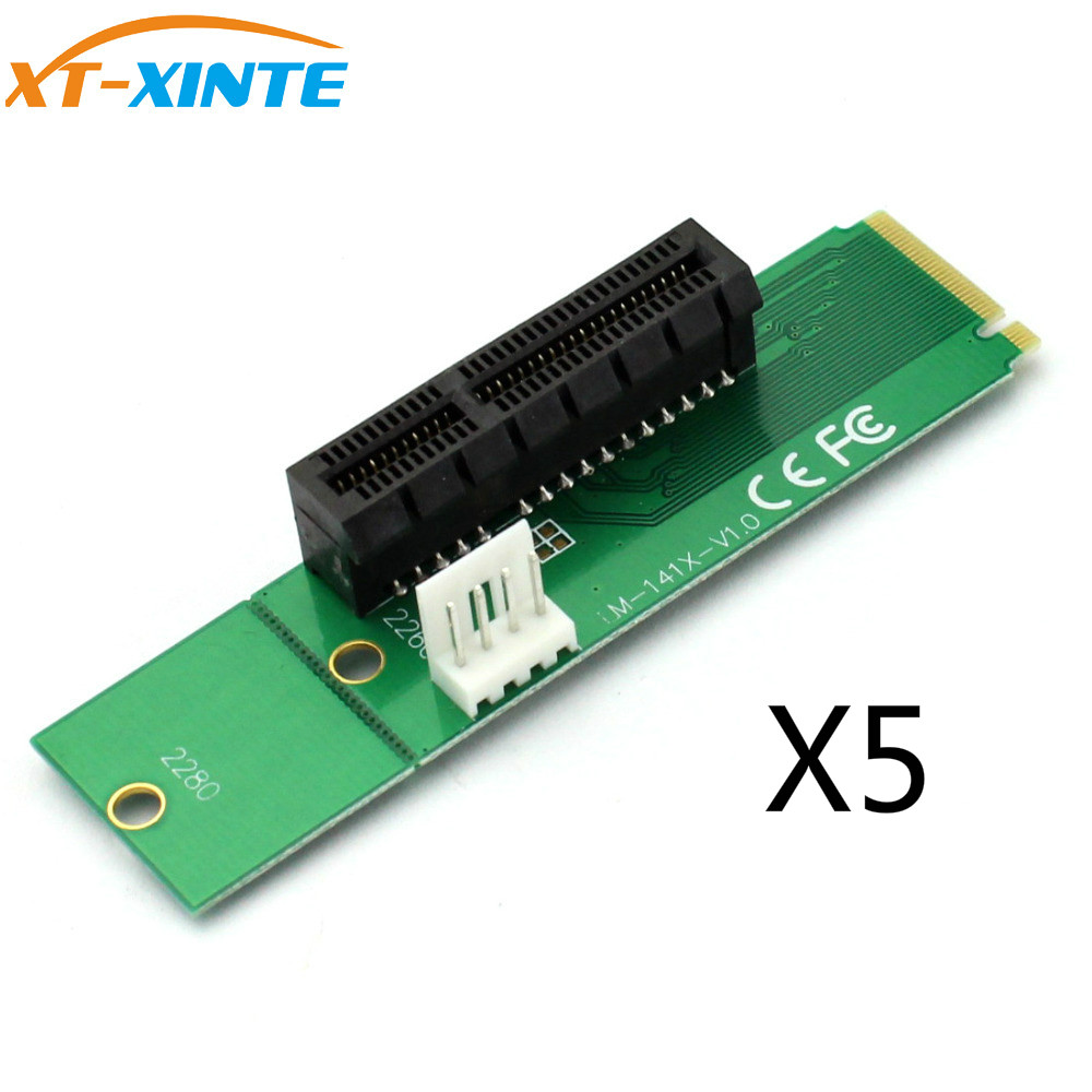 XT-XINTE NGFF M2 M.2 To PCI-E 4x 1x Slot Riser Card Adapter Male To Female PCIE Multiplier For BTC Miner Mining Machine