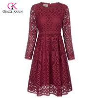 Grace Karin Short Evening Dress Prom Elegant Formal Gowns Long Sleeve Wine Red Lace Wedding Party