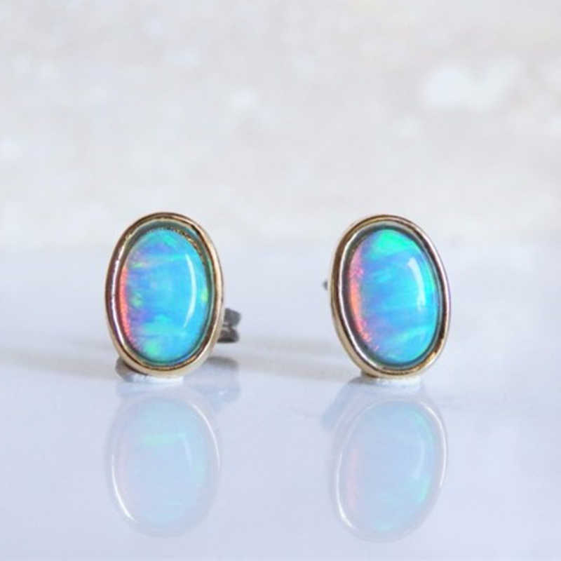 48739bc95 Popular Design Oval Fire Opal Stud Earrings For Women Wedding Engagement  Jewelry Charm Cute Ear Studs