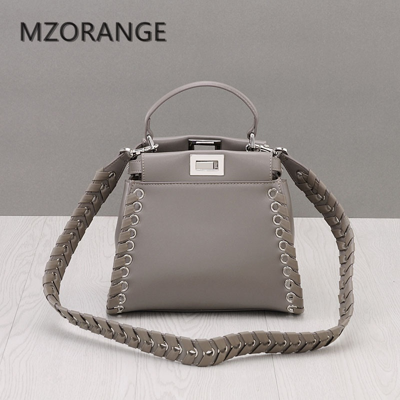 MZORANGE 2017 High Quality Genuine Leather Tote Women Handbag Casual Peekaboo Bag Fashion Lady Shoulder Crossbody Bags Small Bag