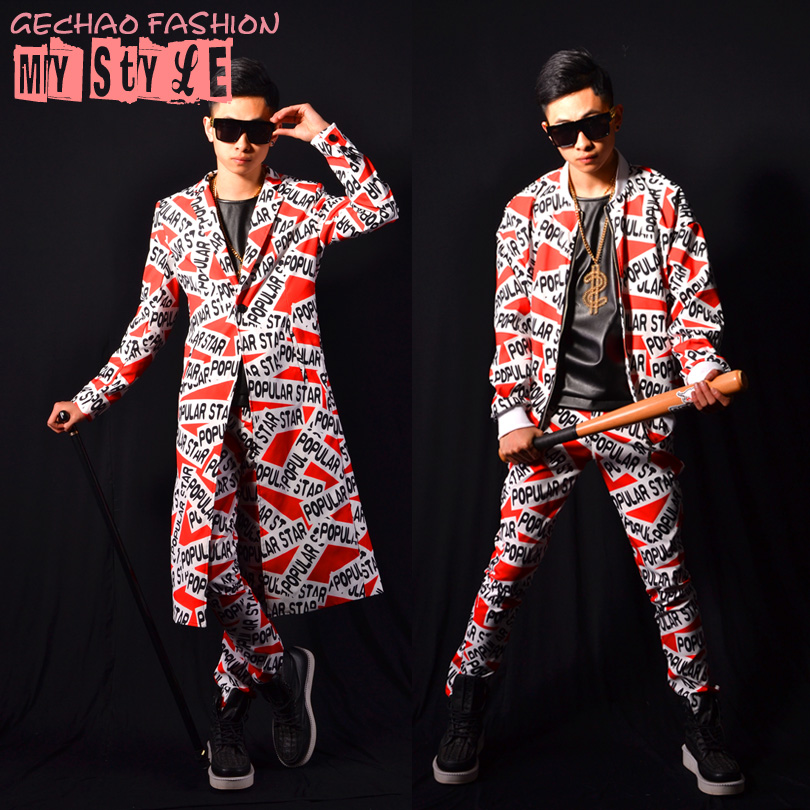 Male long jacket costume Cool dancer singer baseball dress nightclub Outdoors wear performance show star