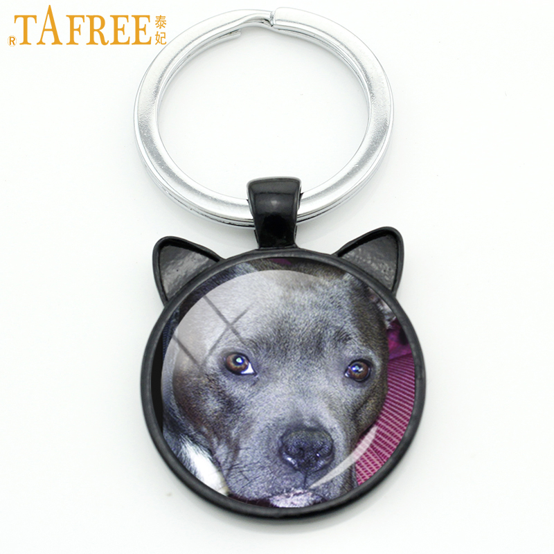 TAFREE innocent staffie Dog keychain vintage handmade black cat ear key chain bag accessory fashion men women jewelry DG11