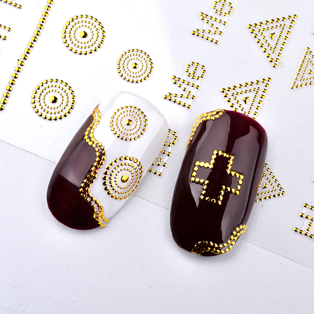 Hollow Golden Nail Art Stickers Adhesive Poker Rose Flower Bow Cross