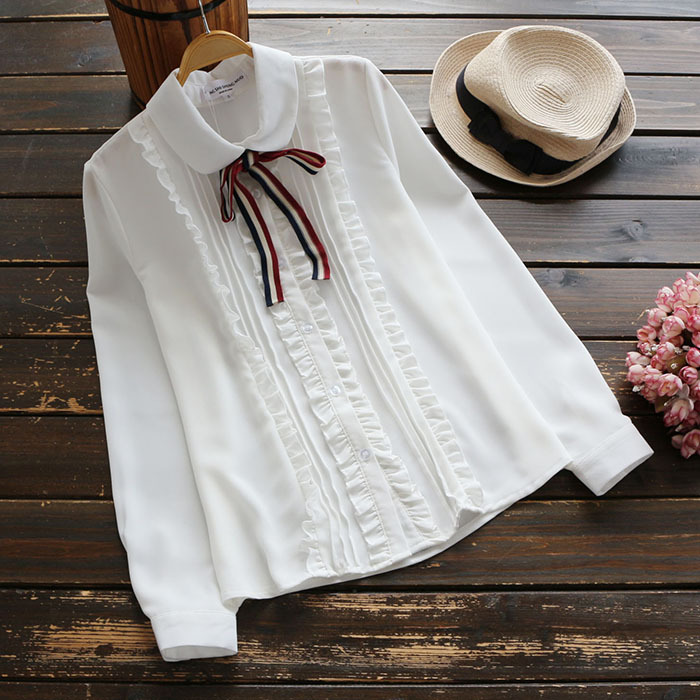 Japonés  Otoño de manga larga Sólido Colorido Pajarita Ruffles Blusas Camisas de