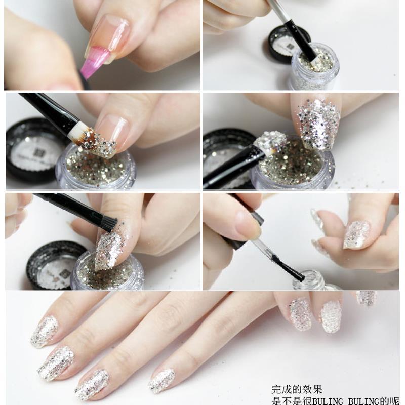 6 Colors Nail Glitter 3d Nail Art Hexagon Glitter Powder Paillette