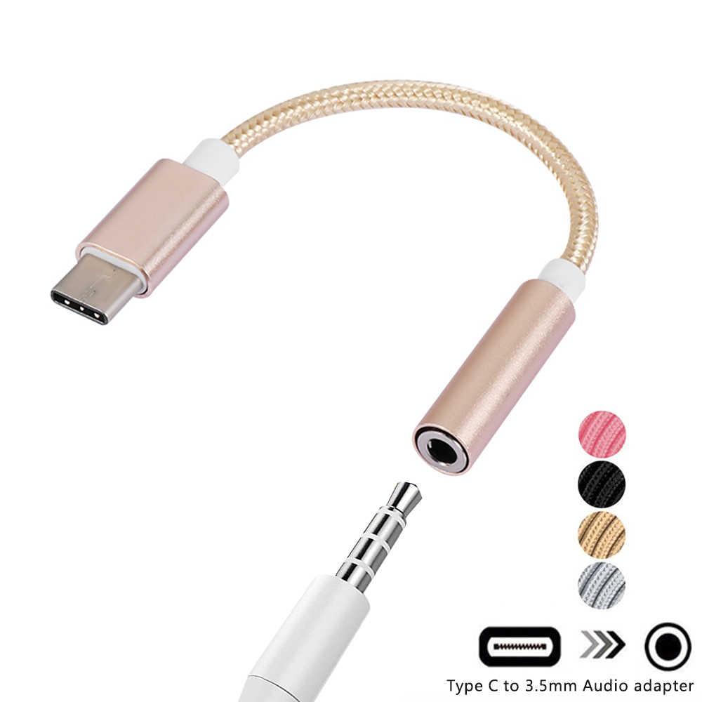 Cabo usb tipo c para fone de ouvido de 3.5mm, adaptador de cabo de áudio, conversor para fones de ouvido para huawei mate 10, 1 peça p20 pro