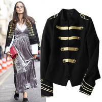2017 Autumn Women Navy Style Stand Collar Long Sleeve Short Jacket Ladies Gold Embroidery With Button