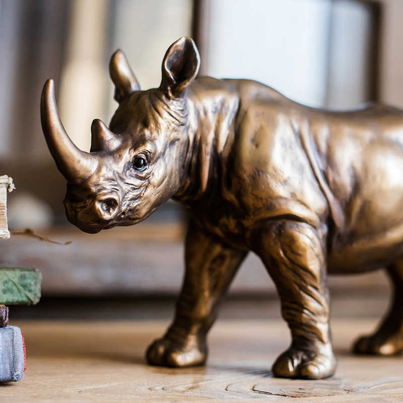 Modern Home Decor Copper Color Rhino Statues Resin Decorations Home Decor Accessories Gifts Geometric Resin Sculpture