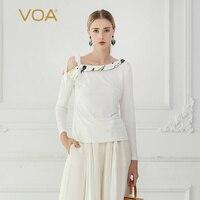 VOA шелка вязать футболка осень длинный рукав белые женские офисные Топы Sexy с открытыми плечами Для женщин пояса лук сладкий большой размеры