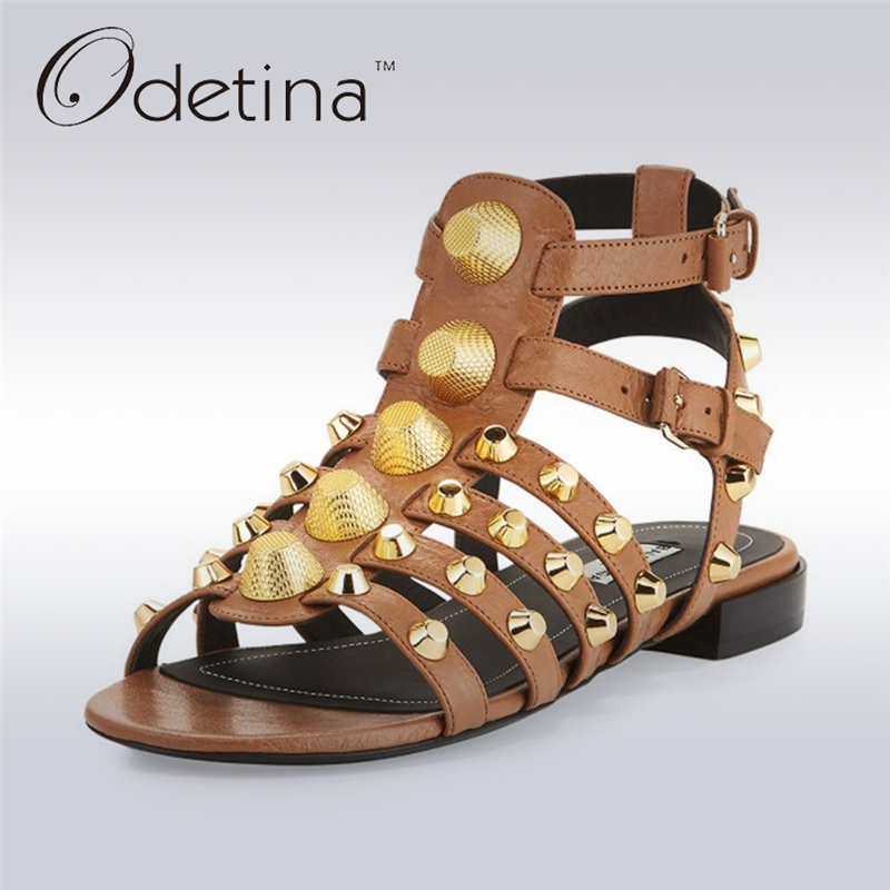 Odetina 2017 Genuine Leather Gladiator Sandals Women Flat Peep Toe Sandals Rivets Ankle Strap Buckle Summer Shoes Big Size 34-43 lucyever women vintage square toe flat summer sandals flock buckle casual shoes comfort ankle strap women footwear mujer zapatos
