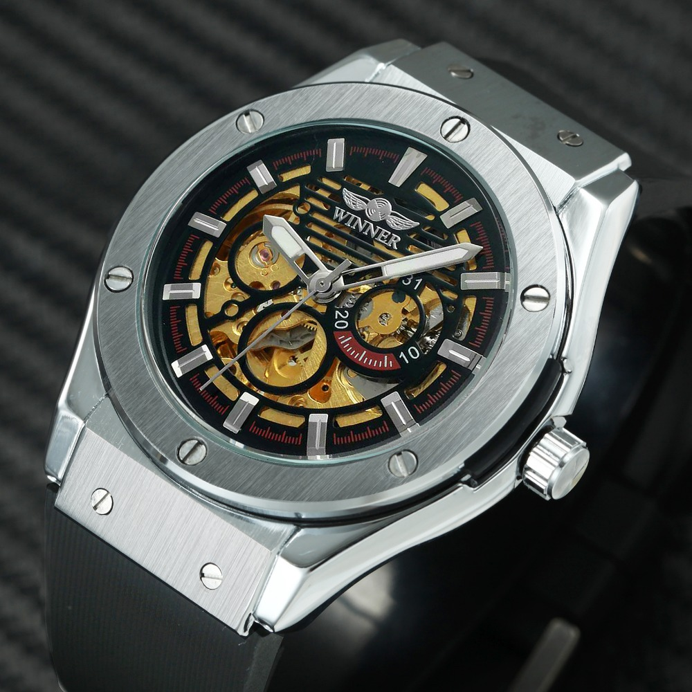 WINNER Top Brand Luxury Watch Men Automatic Mechanical Rubber Strap Skeleton Dial 3D Design Fashion Sport Wrist Watches relogio winner mens watches top brand luxury leather strap skeleton skull auto mechanical fashion steampunk wrist watch men gift box