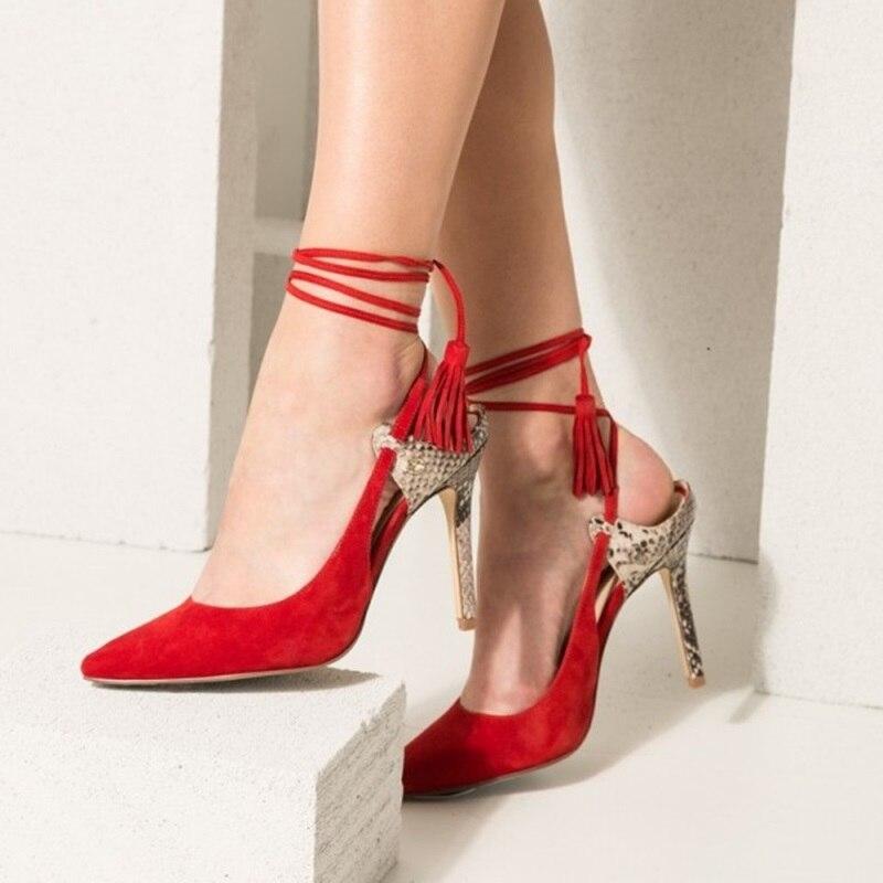 Women Stiletto Red Snakeskin Slingback Heels Tassels Strappy Pumps Plus Size 46Women Stiletto Red Snakeskin Slingback Heels Tassels Strappy Pumps Plus Size 46