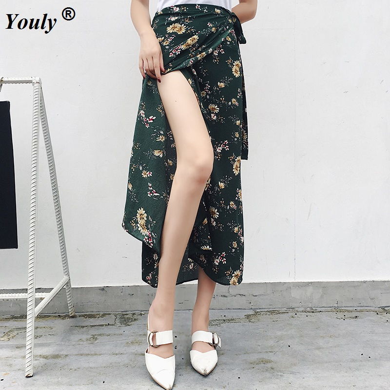 095d93d77e3b Detail Feedback Questions about Vintage floral printed long skirts women  Summer elegant beach maxi skirt Boho high waist asymmetrical Split ends party  skirt ...