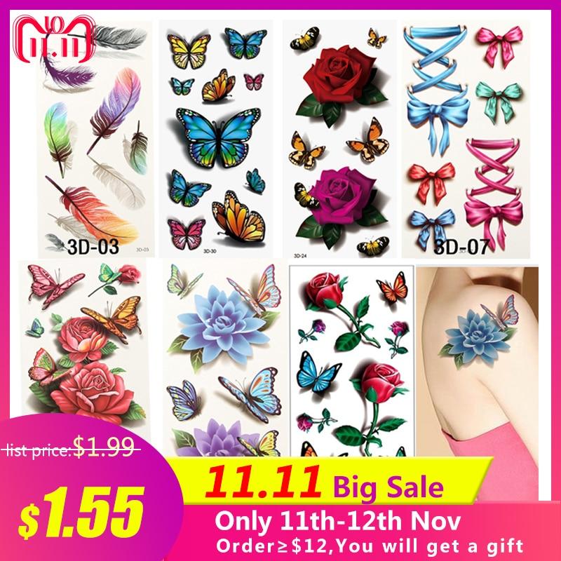 7PCS Beautiful Cute Water Transfer Tattoos Body Art Makeup Cool 3D Waterproof Temporary Tattoo Stickers For Girls Man Tatouage
