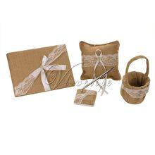 Nuevo arpillera vintage, encaje de lino, vintage, boda, ceremonia, libro de invitados, lapicero, anillo, almohada, cesta de flores, decoración 002