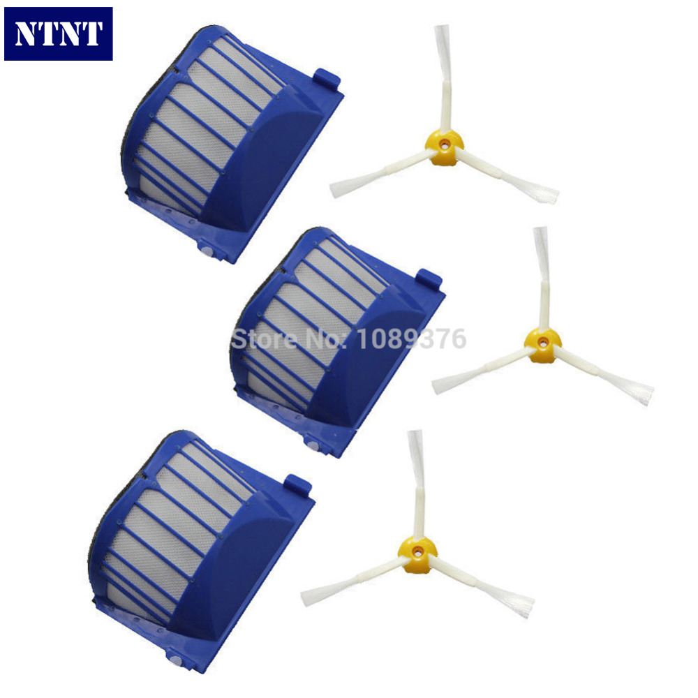 купить NTNT Free Post New 3 Side Brush 3 Armed + 3 Aero Vac Filter for iRobot Roomba 500 Series 536 550 дешево