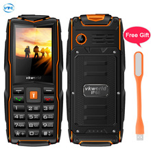 Russian Keyboard Vkworld New Stone V3 Triple Sim Mobile phone Waterproof IP68 2.4 inch SC6531CA Chipet 21 key FM LED Flashlight