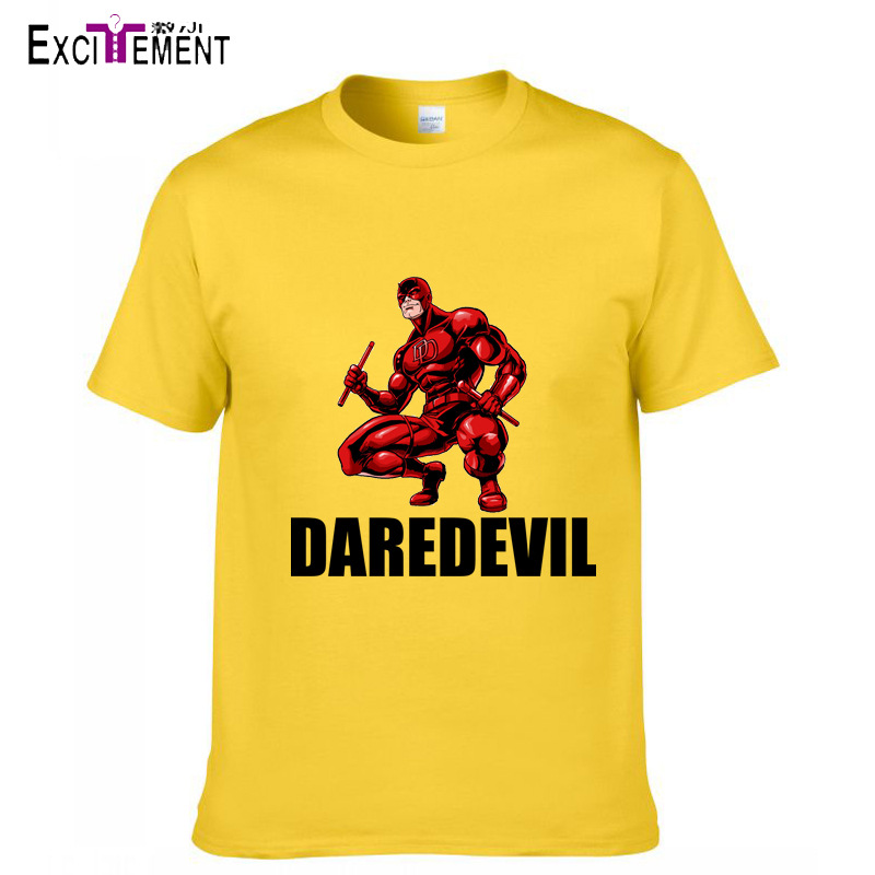 High Quality Daredevil Printed T-shirt Smooth Comfortable Men Summer Casual Print Short-sleeve T-shirt Tops 6 Colors