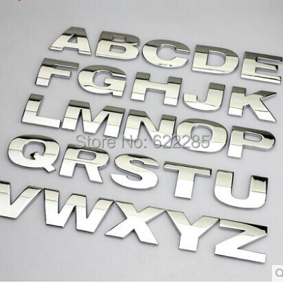 5 pcs lot 3d car metal stickers letters car badge a to z and 0 to 9 numbers 3 color for option top quality emblem free shipping in car stickers from