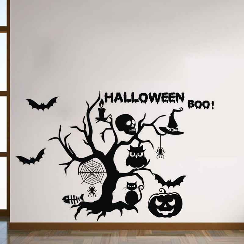 halloween wall decorative stickers self adhesive bat spider owl wall decals vinyl kids room wall stickers - Halloween Wall Decoration