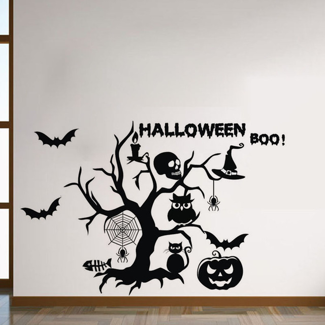 halloween wall decorative stickers self adhesive bat spider owl wall decals vinyl kids room wall stickers