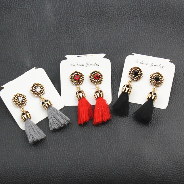 E0187 Vintage Crystal Earring Exquisite Handmade Red Black Gray Tassel Earring For Women Fashion Wedding Party Jewelry Wholesale