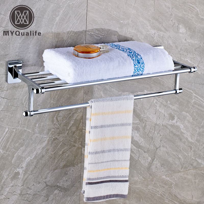 Modern Wall Mounted Bathroom Towel Shelf Brass Chrome Towel Holder Towel Rack aluminum wall mounted square antique brass bath towel rack active bathroom towel holder double towel shelf bathroom accessories
