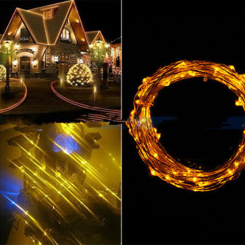 10M 100 LED Copper Wire String Lights Warm White LED Strings for Christmas Wedding Party Powered ...