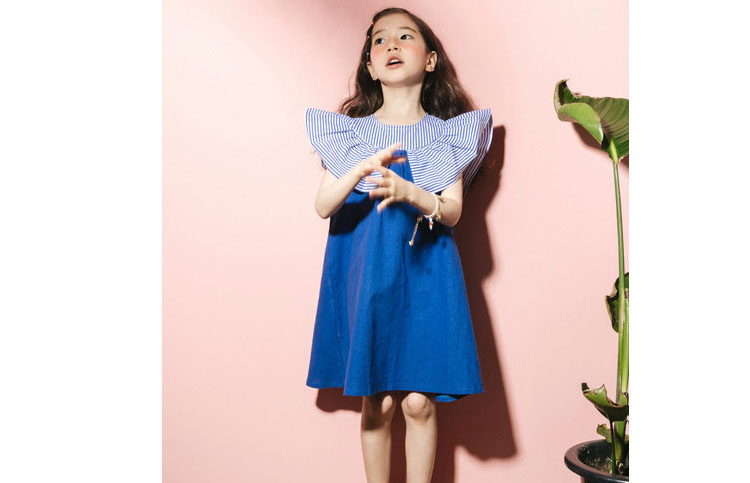 2018 fashion patchwork ruffles dress baby girls dresses for kids summer petal sleeve cotton princess dresses children clothing   (5)