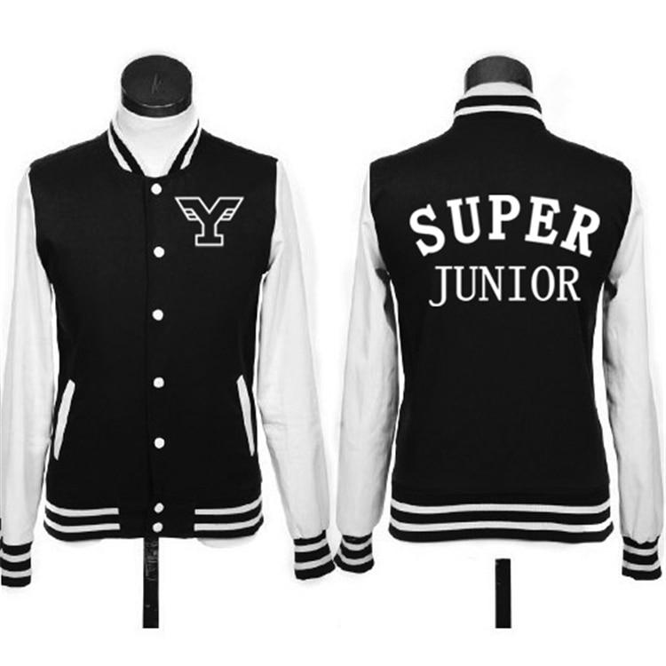 Super junior kpop Coréen baseball vêtements hommes femmes costume décontracté veste k-pop SJ Automne Hiver À Capuche Outerwears Sweat manteau