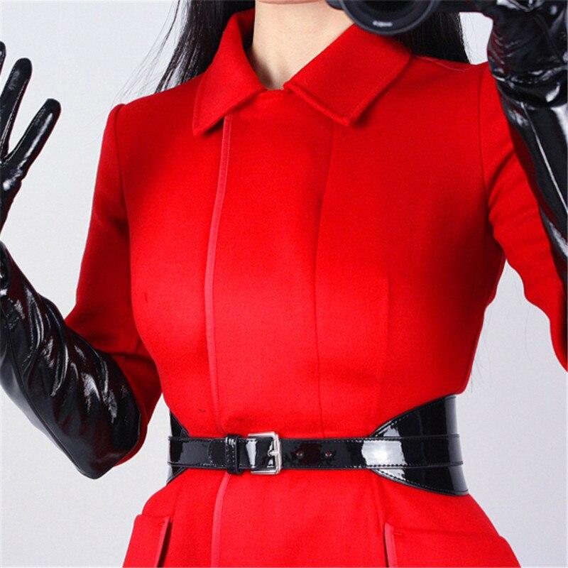 Bright Patent Leather PU Black Woman Belt Simulation Leather Metal Buckle Adjustable Elegant Waistband Female Cummerbunds VG10 in Women 39 s Belts from Apparel Accessories