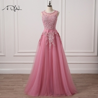 ADLN Scoop Sleeveless A Line Long Evening Dresses With Appliques Tulle Russian Style Prom Gown Party