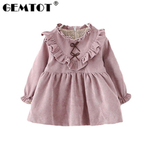 цены 2017 autumn new European and American children's clothing girls dress princess dress children long sleeve printing
