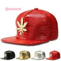 Fashion PU Men Hip Hop Golden Leaves Logo Baseball Cap Casual Unisex Outdoor Sports DJ Dance