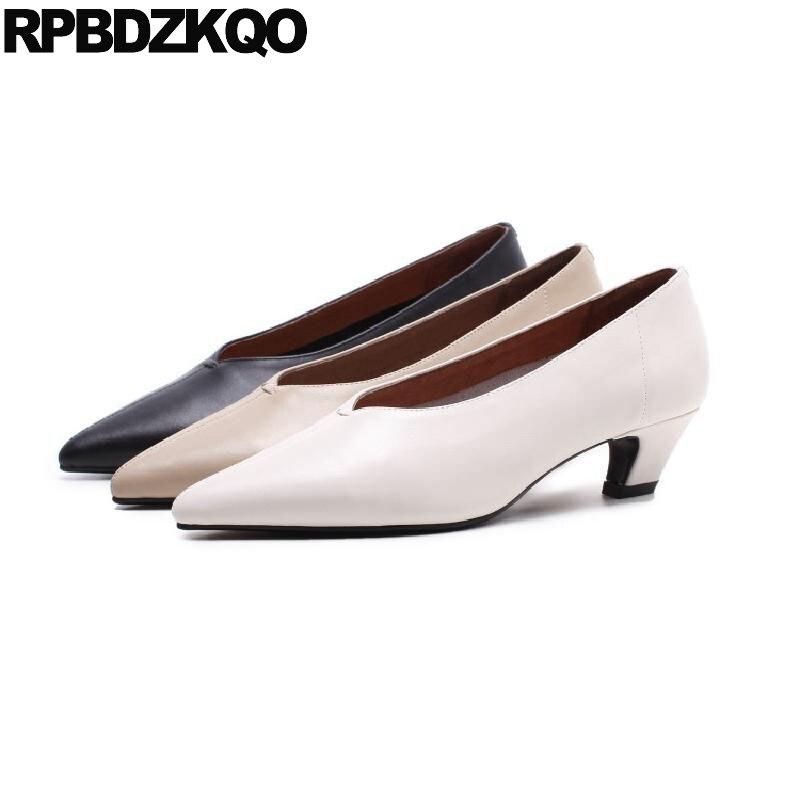 Talons Bout 34 2018 Véritable Vintage Chaussures Taille Noir Moyen Épais Apricot blanc Cuir Dames Mi Pointu Blanc 4 Élégant Nouveau noir En Bloc Personnalisé OPqwZYPz