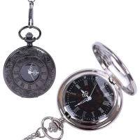 Vintage Roman Numerals Quartz Pocket Watches Black Pendant Chain Clock Birthday Gift pocket watch Fashion accessories